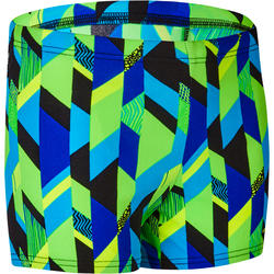 500 BOYS' BOXER PRINT SWIM SHORTS - ALLAFRIBO BLUE