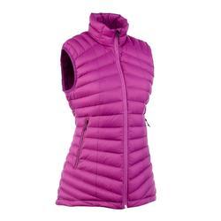 女款登山健行羽絨無袖背心TREK 100-紫色
