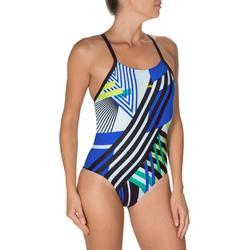 Maillot de bain de natation une pièce femme résistant au chlore Lidia bleu navy