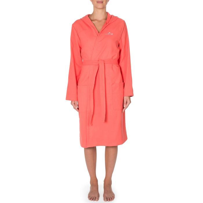 Albornoz de algodón natación para mujer nectarina capucha, bolsillos y cinturón