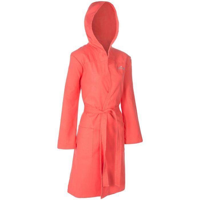 Katoenen dames badjas met bindceintuur, zakken en capuchon nectarine