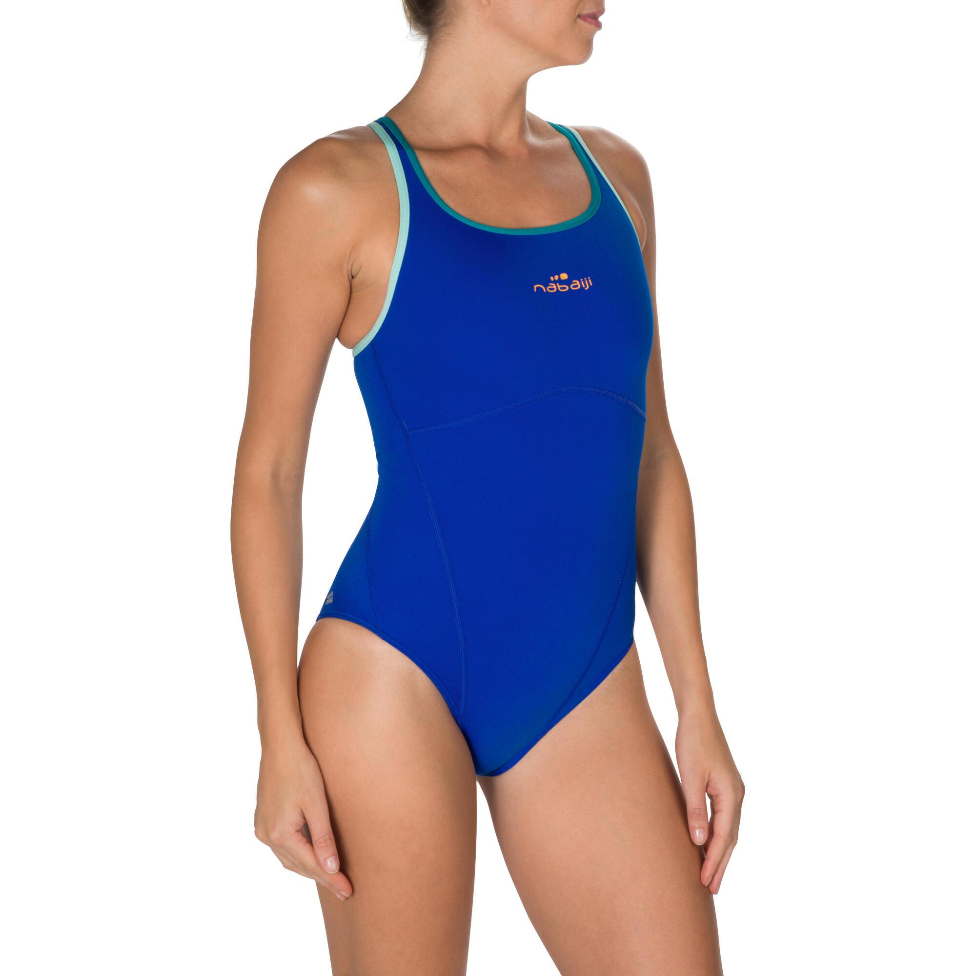 kamiye women 39 s chlorine resistant one piece swimsuit blue nabaiji. Black Bedroom Furniture Sets. Home Design Ideas