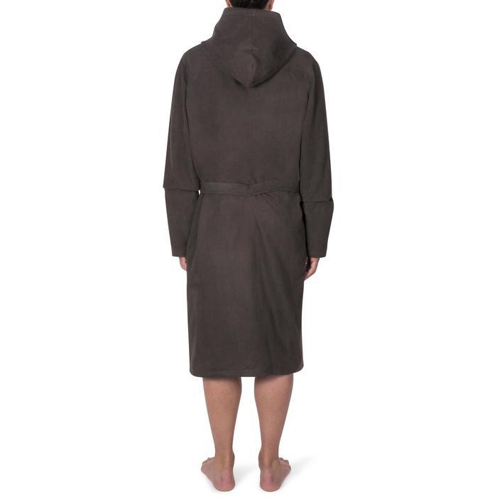 Albornoz de microfibra natación gris oscuro con capucha, bolsillos y cinturón