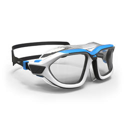 500 ACTIVE Swimming Mask, Size S White Blue, Clear Lenses