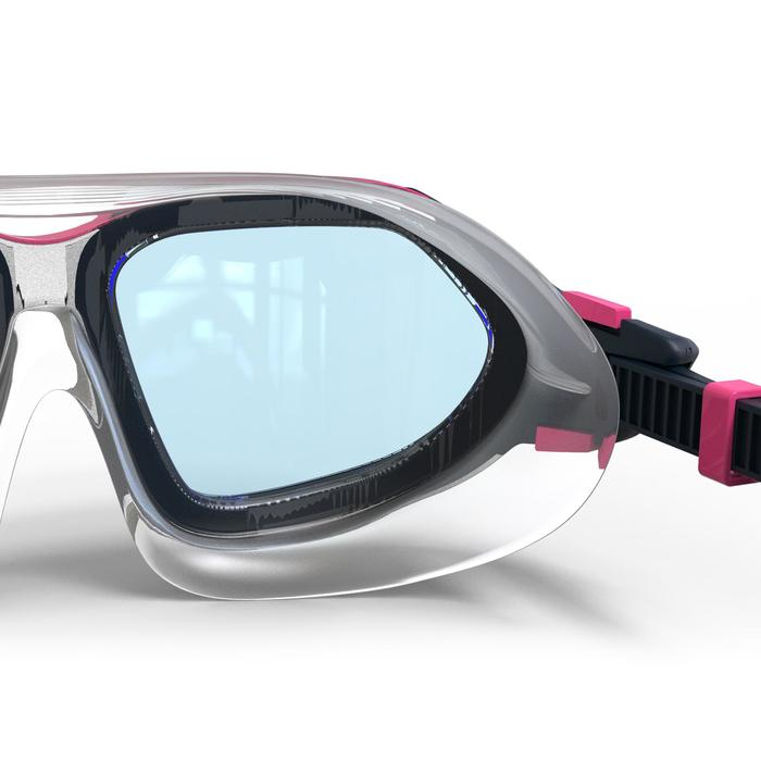 500 ACTIVE ASIA透明鏡片游泳面鏡 S號 白粉紅色