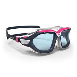 游泳面鏡500 ACTIVE ASIA,S號 - 白色粉紅色,透明鏡片