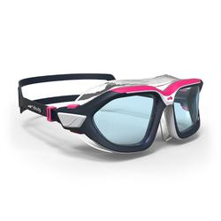500 ACTIVE ASIA Swimming Mask, Size S - White Pink, Clear Lenses