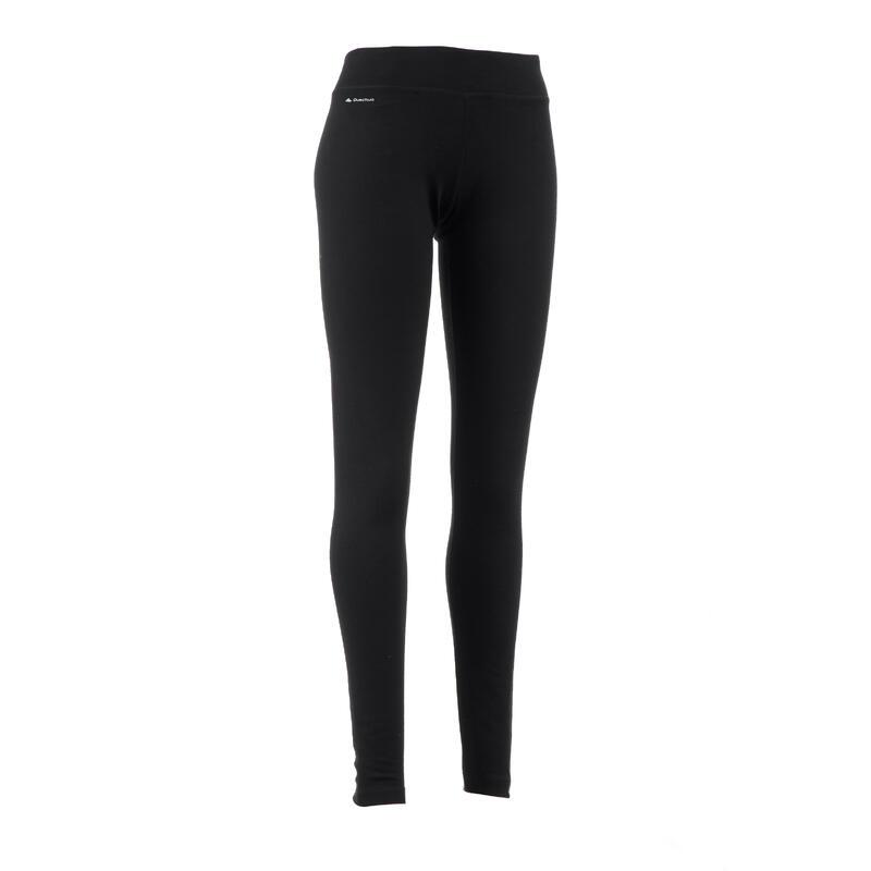 กางเกงเลกกิ้งผู้หญิงผ้าเมอริโนวูลสำหรับใส่เทรคกิ้งบนภูเขารุ่น Trek 500 (สีดำ)
