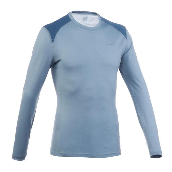 Heren T-shirt met lange mouwen voor bergtochten Techwool 190 lichtgrijs