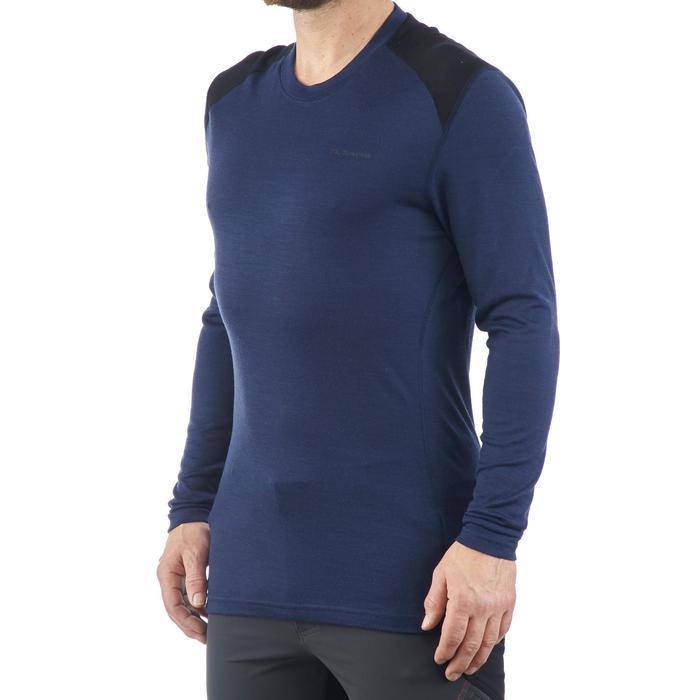 Herenshirt met lange mouwen voor bergtochten TechWool 190 marineblauw
