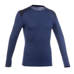 Camiseta manga larga trekking en montaña TECHWOOL190 hombre azul