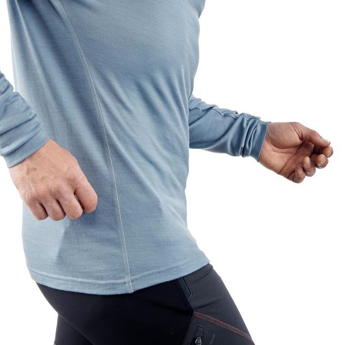 T-shirt met lange mouwen voor bergtrekking Techwool 190 heren grijs