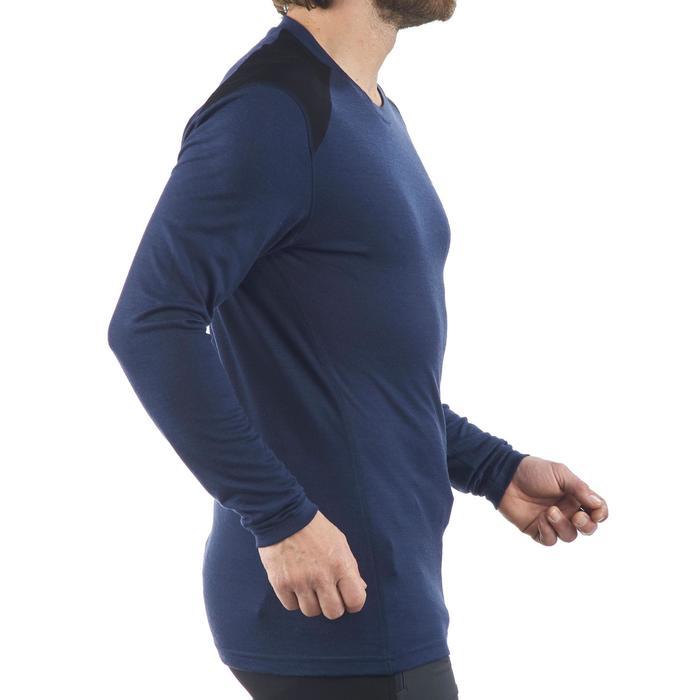 T- Shirt manches longues trekking montagne TECHWOOL190 homme bleu