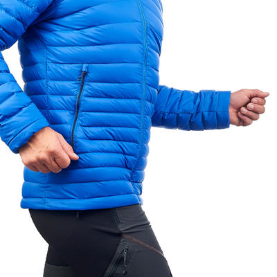 Men's Mountain trekking down jacket _PIPE_ TREK 100 DOWN - Blue