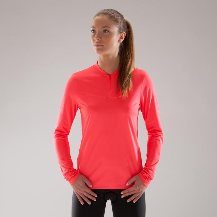 Fietsshirt 100 met lange mouwen voor dames roze - 1225499