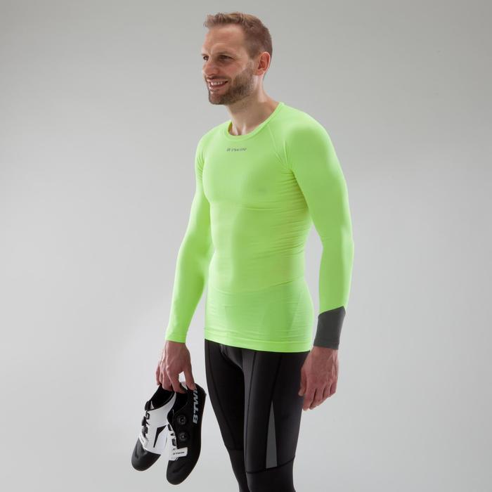 Fietsondershirt met lange mouwen voor heren racefiets 500 geel