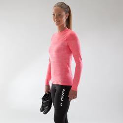 Fahrrad-Unterwäsche Langarm-Funktionsshirt 500 Damen rosa