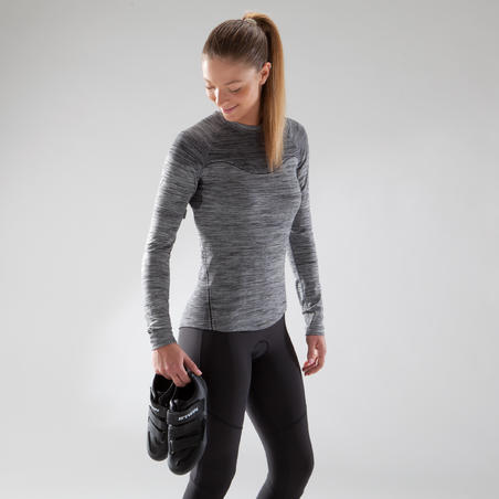 500 Women's Long-Sleeved Cycling Base Layer - Black