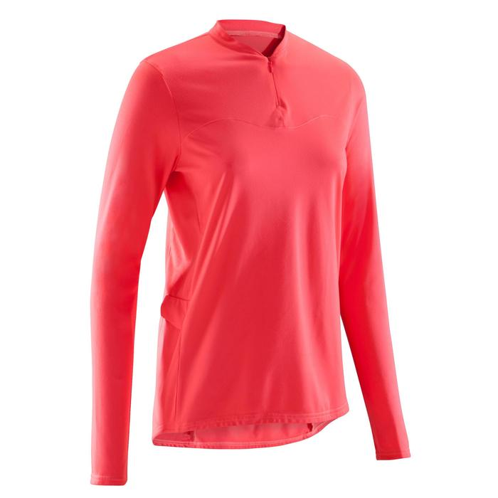 Fietsshirt met lange mouwen voor dames wielrennen 100 roze