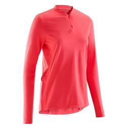 Maillot manches longues vélo route femme 100 rose