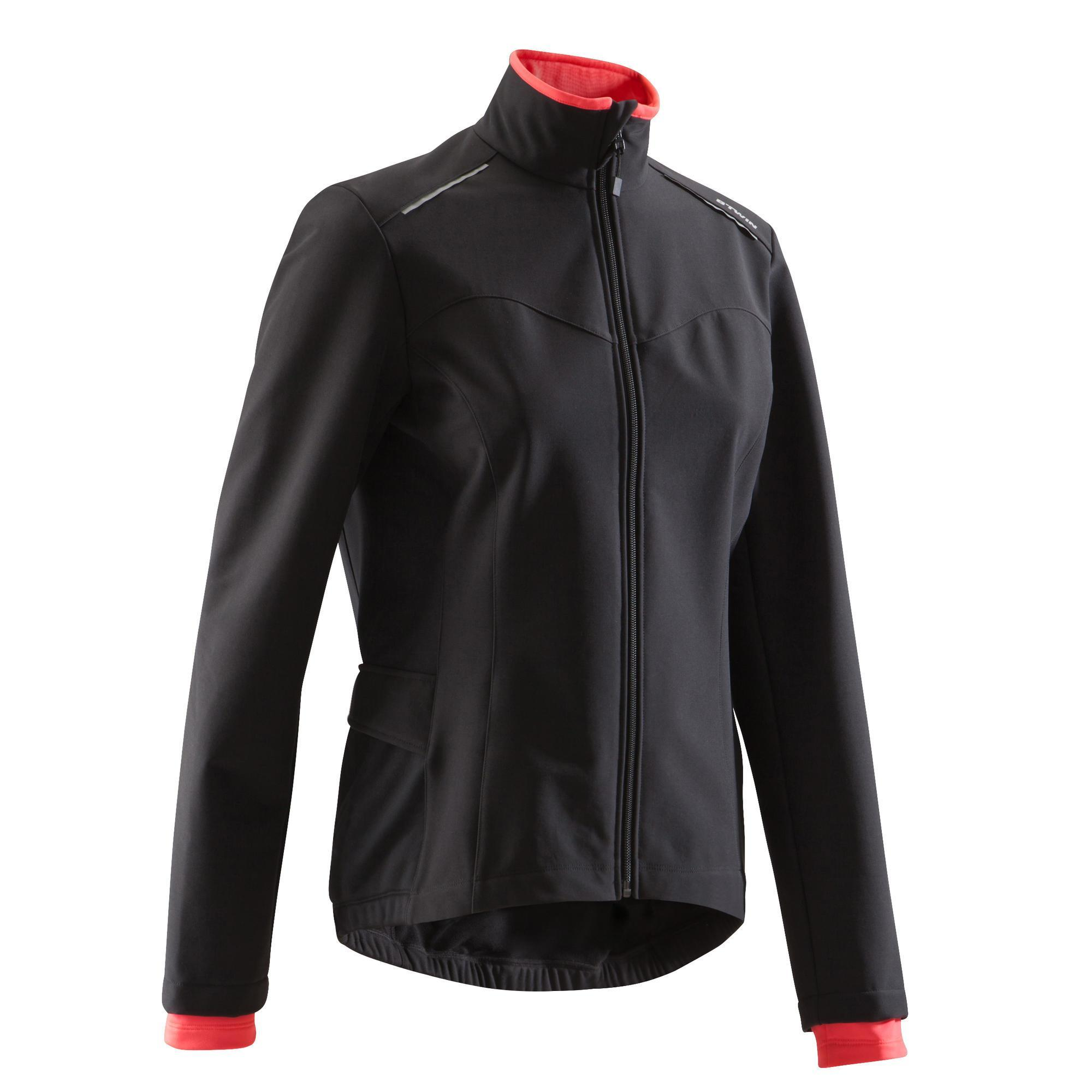 Fahrradjacke 100 Damen schwarz | Sportbekleidung > Sportjacken > Fahrradjacken | Schwarz - Rot - Rosa | Triban