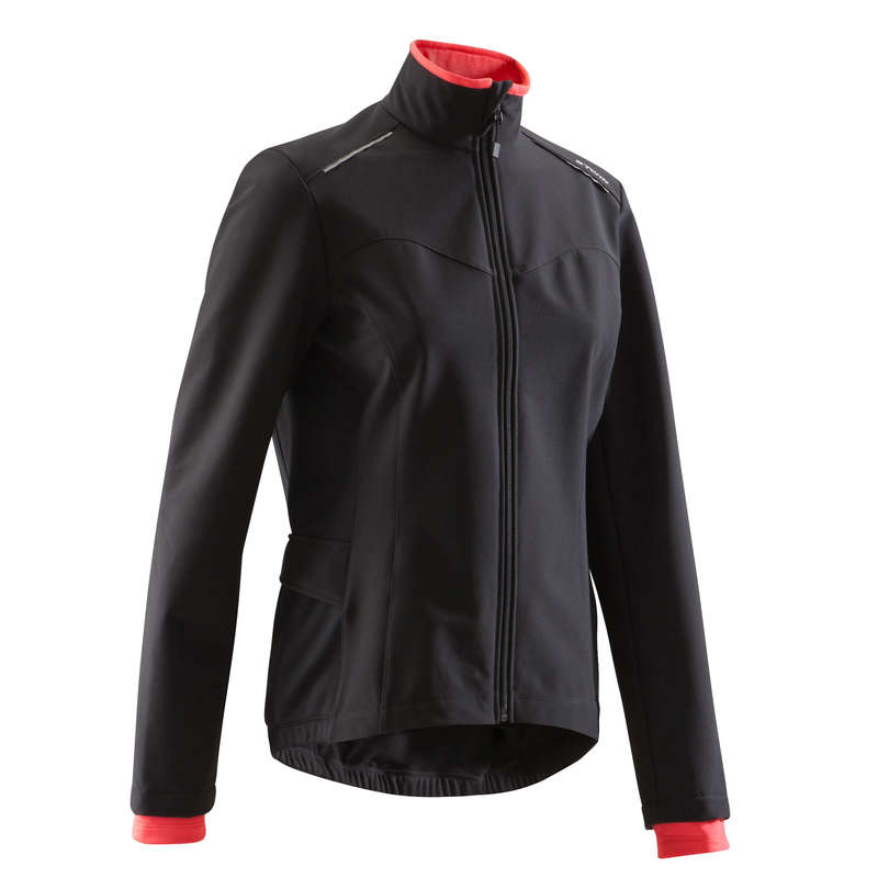 WOMEN COLD WEATHER ROAD APPAREL Clothing - 100 Women's Road Cycling Jacket - Black TRIBAN - By Sport