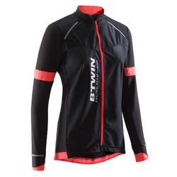 Fietsshirt 900 met lange mouwen voor dames zwart/roze