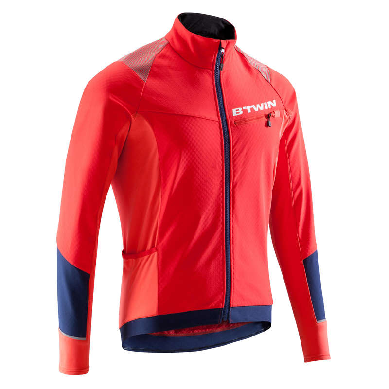 MEN COLD WEATHER ST MTB APPAREL - 500 Warm cycling Jacket - Red ROCKRIDER