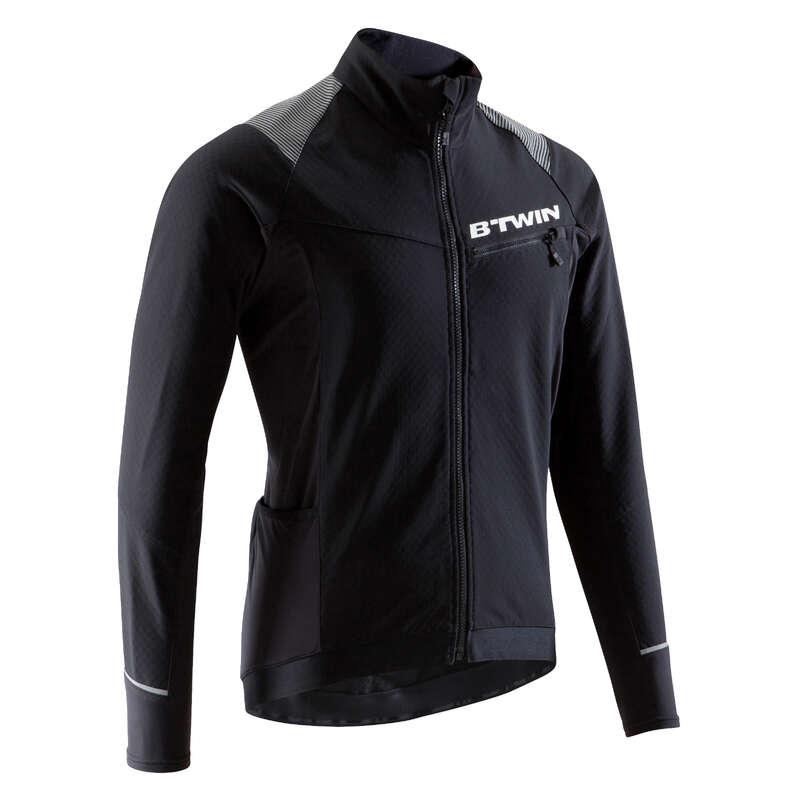 FÉRFI KÖZÉPHALADÓ MTB RUHÁZAT HIDEG ID#R - 500 kerékpáros kabát, fekete ROCKRIDER