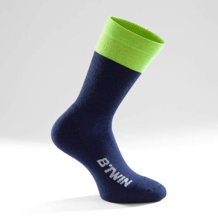Fahrrad-Socken 500 Winter marineblau/gelb