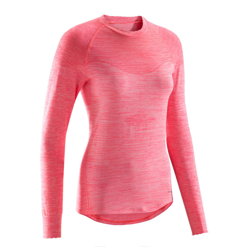 W COLD WEATHER ROAD CYCLING BASELAYER Clothing - RC 500 Women's Long Sleeve Cycling Base Layer - Pink TRIBAN - By Sport