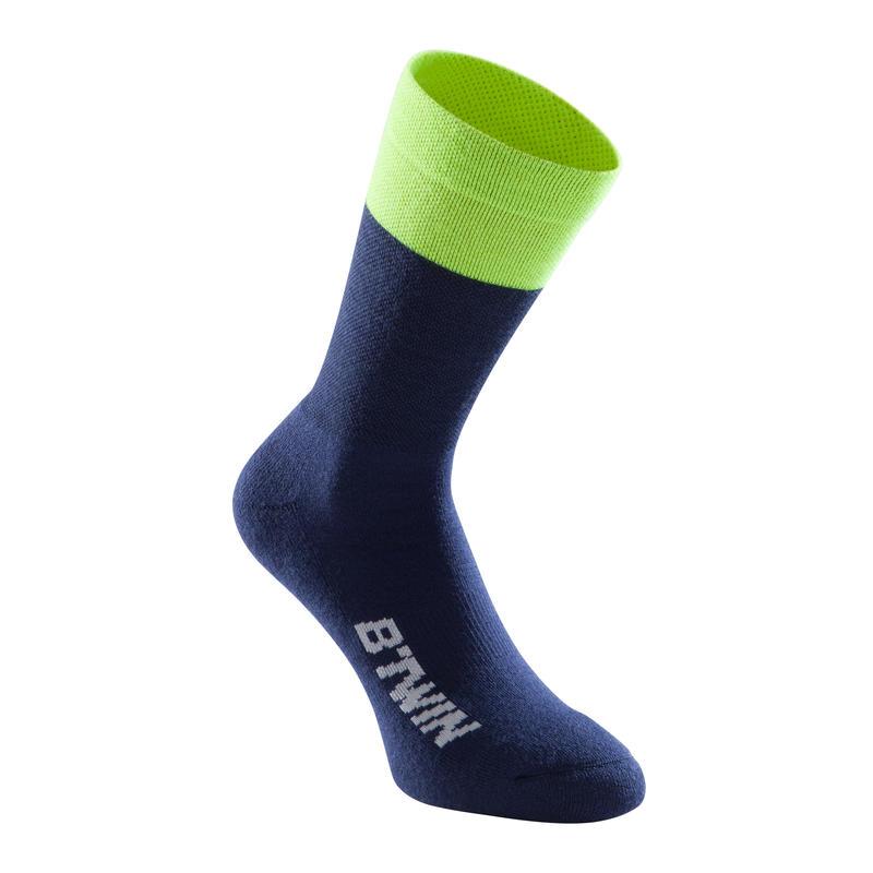 500 Winter Cycling Socks - Blue/Navy/Yellow