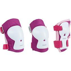 Play 兒童三套防護裝備直排輪滑冰滑板滑板 - 粉色