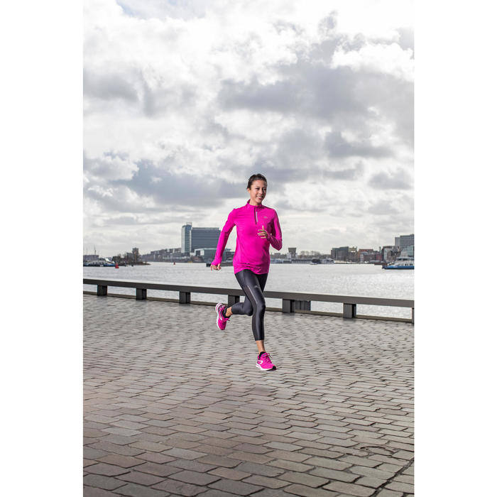 Run Dry + Zip Women's Running Long-Sleeved Shirt - Pink - 1226598