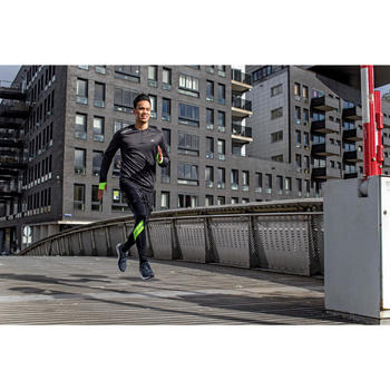 TEE SHIRT MANCHES LONGUES  RUNNING HOMME RUN WARM+ NOIR CHINé - 1226605