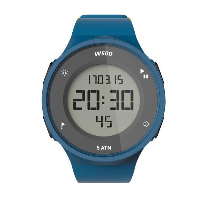 Montre chronomètre de course à pied homme W500 M noire reverse - 1226631