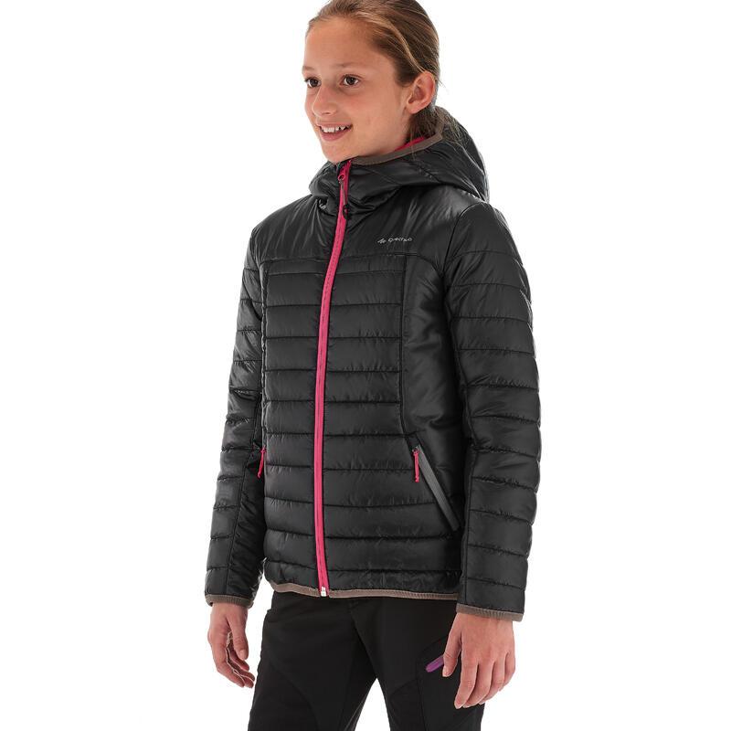 MH500 Girl Kids' Hiking Padded Jacket - Black Pink