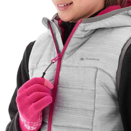 Chaleco de guata niños 8-14 años Hike 500 Gris claro