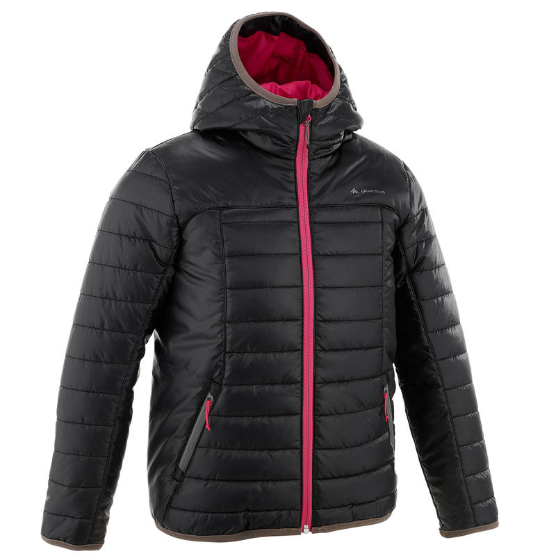 MH500 Girl Kids' Hiking Padded Jacket - Black Pink