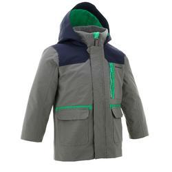 男孩款兒童3合1保暖健行防水外套SH500-灰色