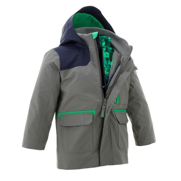 SH500 Boys' 3-in-1 CN Warm Hiking Waterproof Jacket - Grey