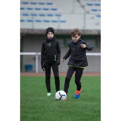 Sudadera Entrenamiento Fútbol Kipsta T500 Niño Negro Amarillo 1/2 Cremallera