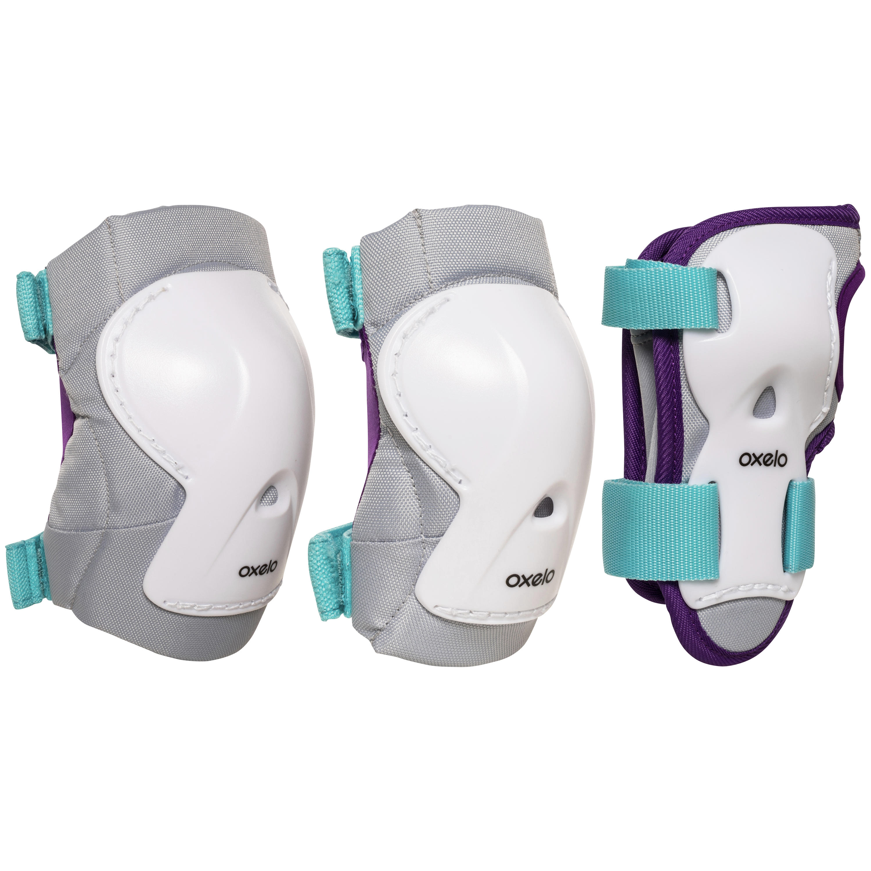 Set de 3 protecciones para niños para patinaje PLAY turquesa