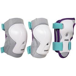 Protecciones roller júnior PLAY blanco azul turquesa