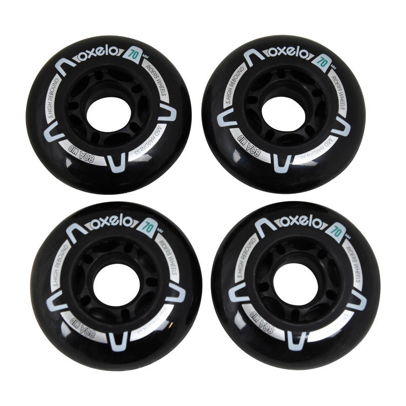 Kids' Fitness Inline Skate 70 mm 80A Wheels 4-Pack