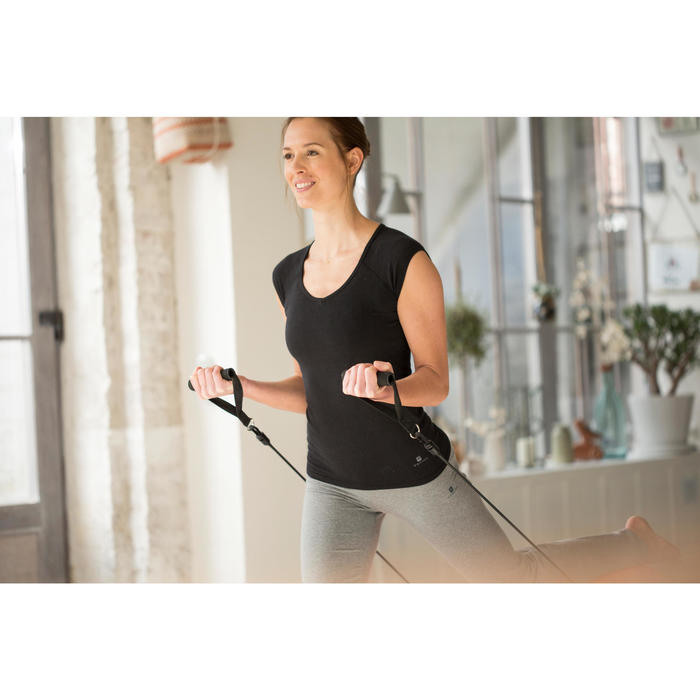 T-Shirt 500 Slim Gym & Pilates Damen marineblau