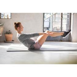 Langarmshirt 500 Gym & Pilates Damen schwarz mit Print