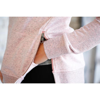 Pantalón 500 slim gimnasia Stretching mujer gris jaspeado moteado
