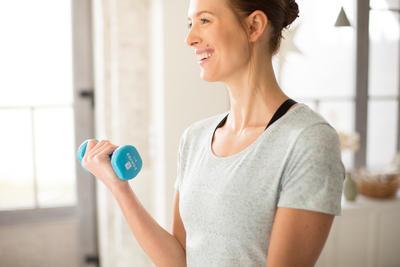 Mancuernas Vinilo 2 x 1,5kg. Fitness Gym Pilates Nyamba azul