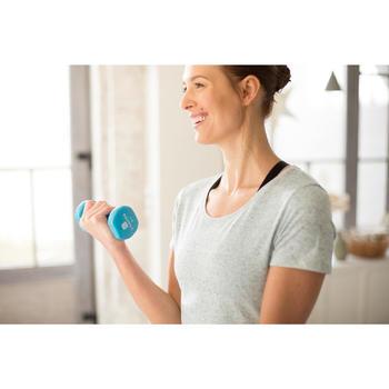 Camiseta 500 regular manga corta gimnasia y pilates mujer azul oscuro jaspeado